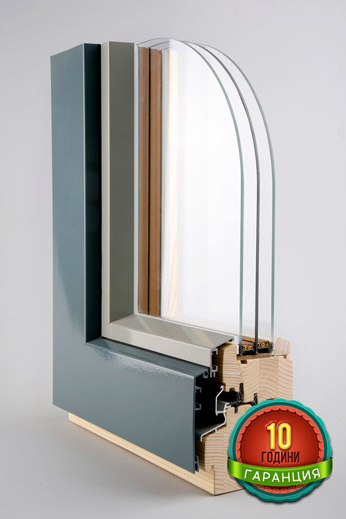 Wooden windows 92/92 with aluminium cap CORA